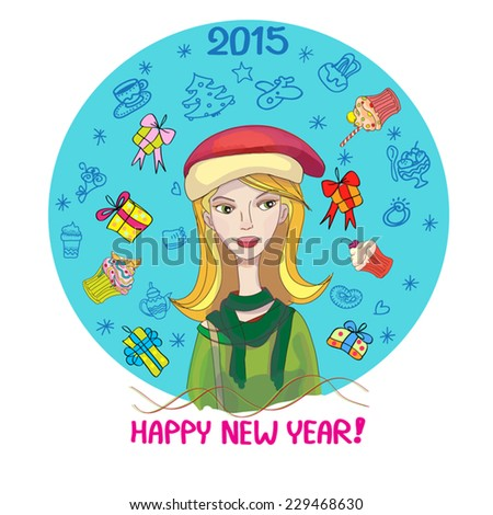 Happy new year cute illustration of blonde girl in christmas hat and gift boxes, cupcakes and contour of her dreams thinks around her in blue turquose circle. Square. Cartoon. Isolated on white.