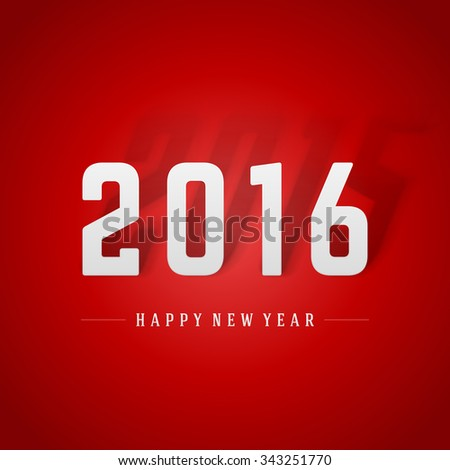 Happy New Year 2016 3d message vector background.