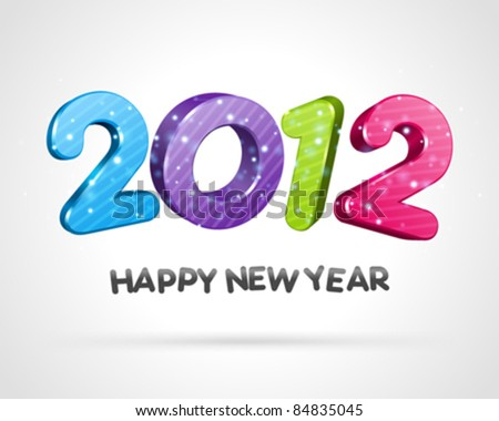 Happy new year 2012 3d message vector background. Eps 10.
