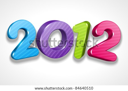 Happy new year 2012 3d message vector design element. Eps 10.