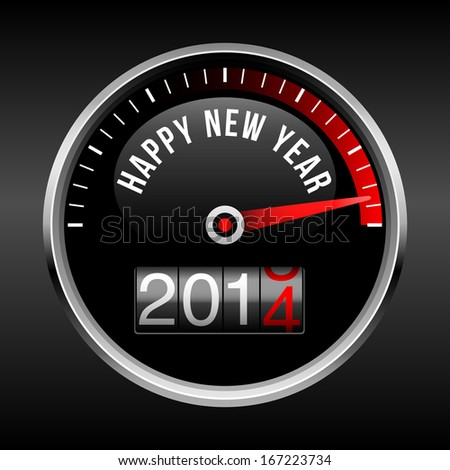 Happy New Year 2014 Dashboard Background - speedometer dial and odometer with rolling red number.  EPS10 file with transparency. - stock vector