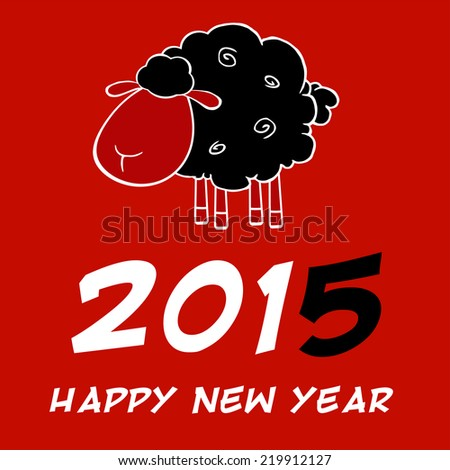 Happy New Year 2015 Design Card With Black Sheep And Black Number. Vector Illustration