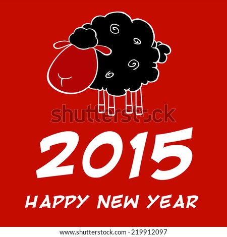 Happy New Year 2015 Design Card With Black Sheep. Vector Illustration