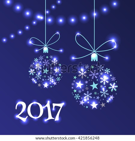 Happy New Year 2017 design festive banners, invitation or greeting cards. Christmas balls and garland on a dark blue background. Vector illustration. - stock vector