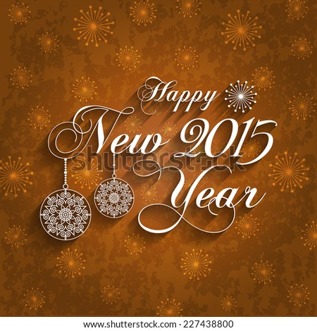 Happy New Year 2015 Design on Grunge Background (EPS10 Vector) - stock vector