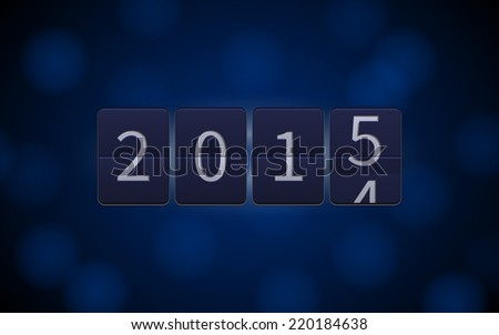 Happy New Year 2015, digital clock countdown on blue background with light effects.