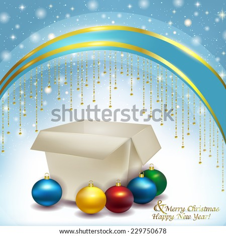 Happy New Year, empty paper box with colored Christmas balls on a gentle blue background of soft snow, and glare with sequins. Vector Christmas illustration of a box of decorations. - stock vector