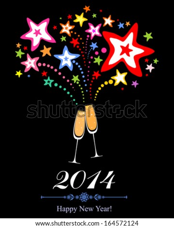 Happy new year 2014! Firework and Two Glasses in black background. Vector Illustration  - stock vector