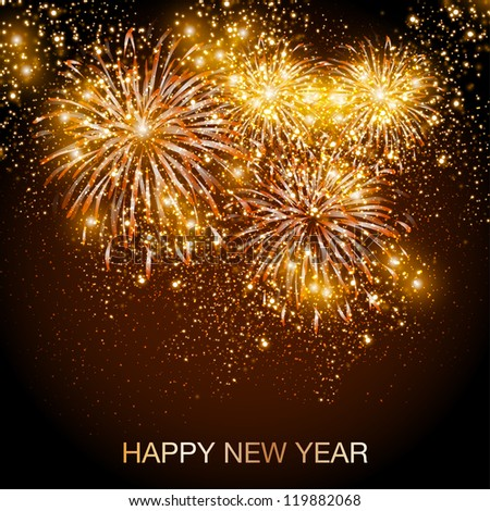 Happy New Year fireworks background - stock vector