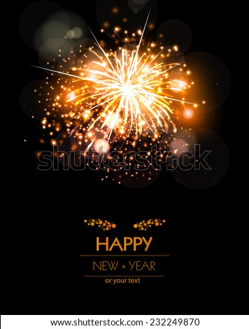 Happy New Year fireworks background concept, easy editable - stock vector