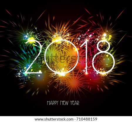 Happy New Year 2018 Fireworks Colorful Stock Vector (Royalty Free ...