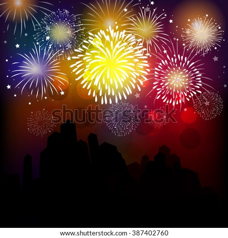 Happy new year fireworks 2017 holiday background design - stock vector