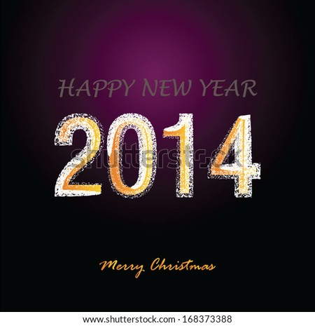 Happy New Year 2014 Fireworks type - stock vector