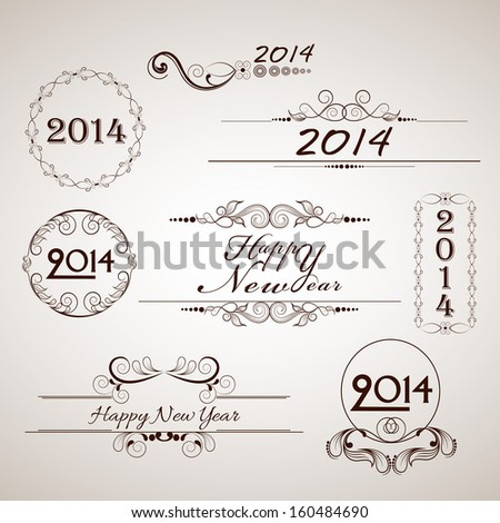 Happy New Year 2014 floral calligraphic set.  - stock vector