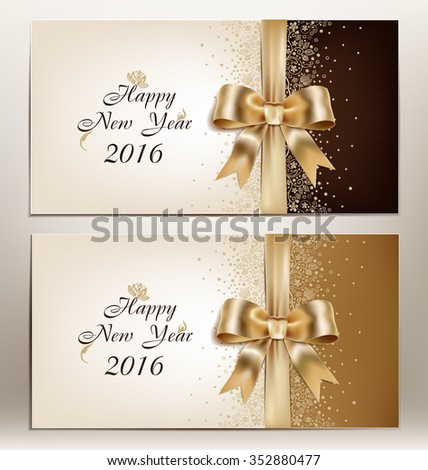 happy new year 2016 , floral greeting card for 2016 with  golden ribbon