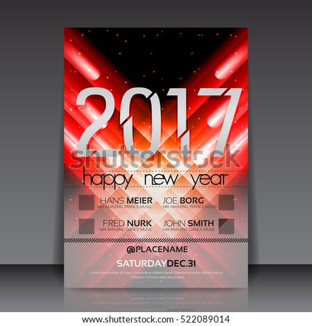 Happy New Year 2017 Flyer Template | EPS10 Vector Design