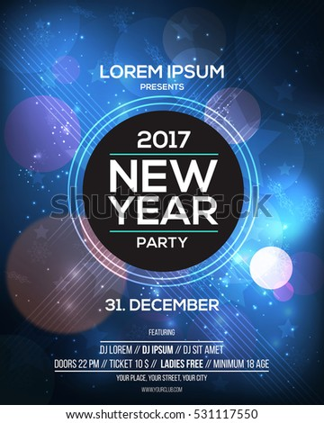 Happy New Year 2017 Flyer Template for websites and mobile websites. Can be used For Posters, Web Banners, promotion materials. Vector Illustration
