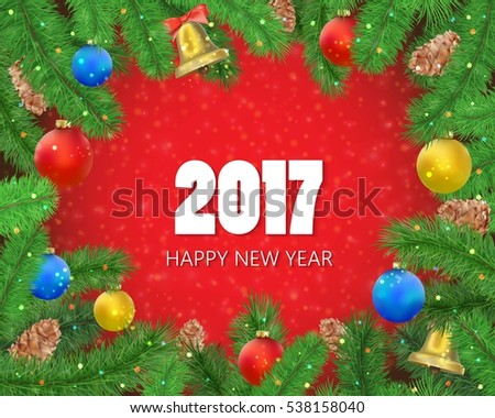 Happy New Year frame with fir tree branches, holiday decorative elements and confetti. Noel background with lettering. Vector illustration isolated on red.