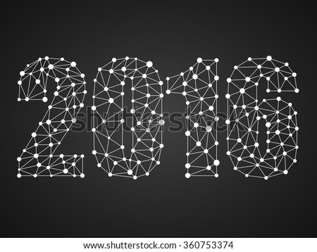 Happy New Year 2016 from dots and lines, network connections. Vector illustration