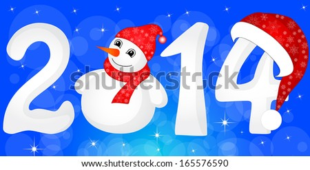Happy New Year 2014 From Snow With Snowman and Santa Hat