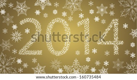 Happy New Year 2014 From Stars With White Snowflakes. Vector - stock vector