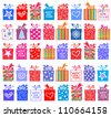 Happy New Year! Gift set. Gift boxes with bow and ribbon isolated on White background. Vector illustration - stock vector