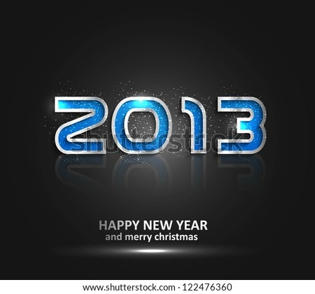 Happy new year glossy reflection 2013  background vector - stock vector