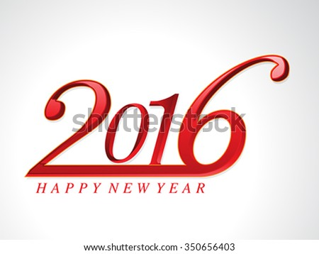 happy new year 2016 glossy text background vector illustration