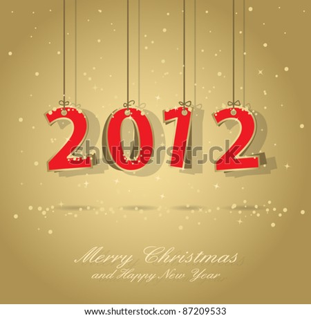 happy new year 2012 gold and red greeting card, elements are in separate layers and grouped, easy to edit, eps 10 - stock vector