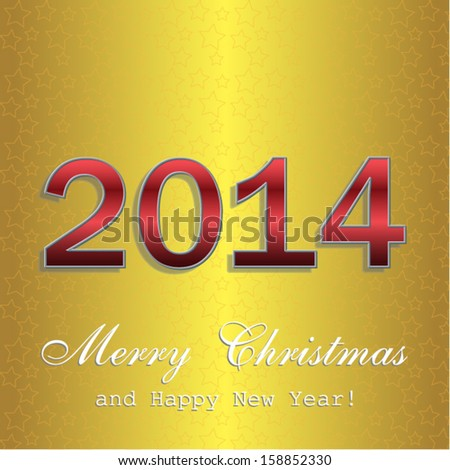 happy new year 2014 gold and red greeting card.Vector eps10, illustration.
