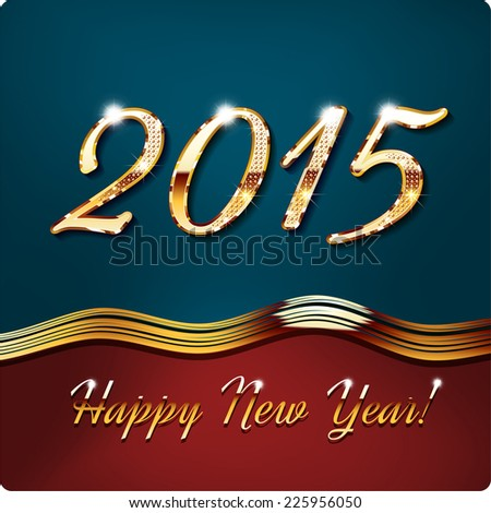 Happy New Year 2015, Gold inlaid figures, with shadow and glare. vector - stock vector