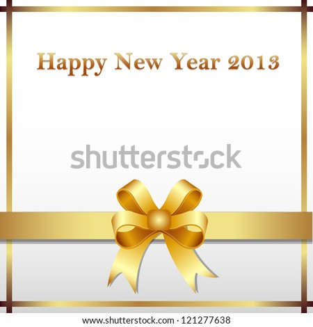 Happy new year 2013 gold ribbon - stock vector