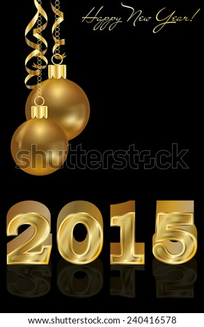Happy new 2015 year golden background, vector illustration