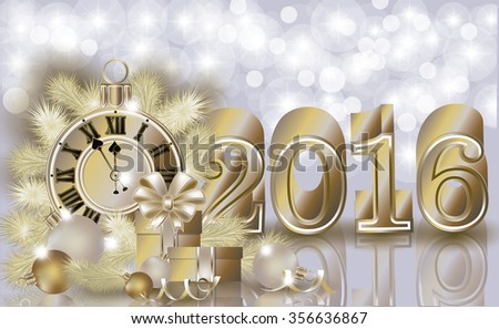 Happy New year 2016 golden banner, vector illustration