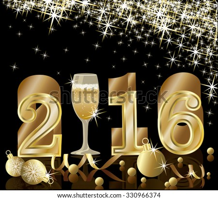 Happy New year 2016. golden card with champagne, vector illustration