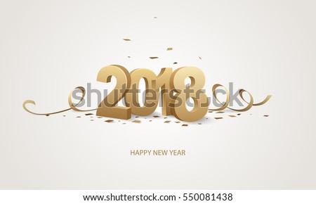 Happy New Year 2018. Golden 3D numbers with ribbons and confetti on a white background.