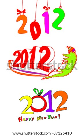 Happy New Year 2012 greeting - stock vector