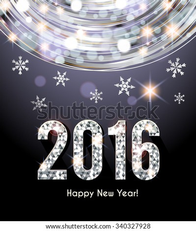 Happy New Year 2016  greeting card - stock vector