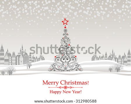 Happy New Year greeting card. Celebration background with Christmas Landscape, Christmas tree and place for your text. Vector Illustration  - stock vector