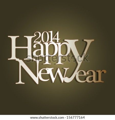 Happy new year 2014 greeting card design. - stock vector