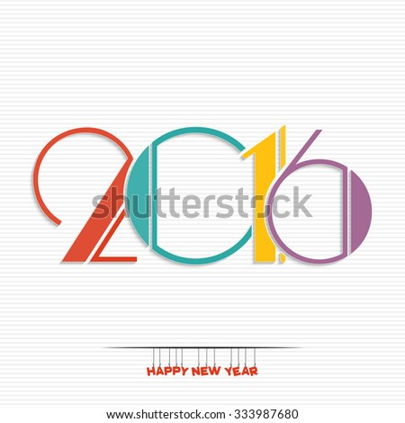 Happy new year 2016 greeting card design - stock vector