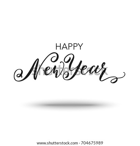 Happy new year 2018 greeting card stock vector 704675989 shutterstock happy new year 2018 greeting card design template hand drawn brush calligraphy holiday greetings m4hsunfo