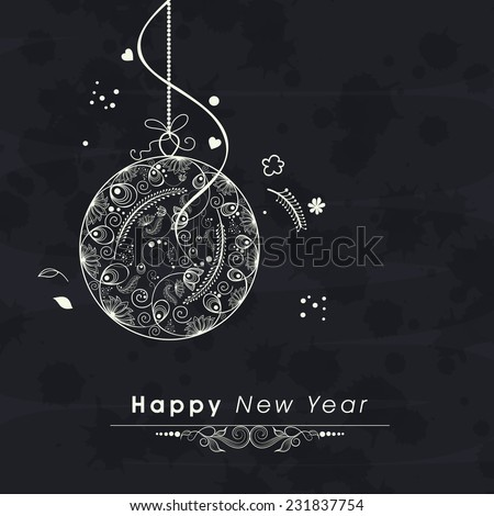 Happy New Year 2015 greeting card design with beautiful floral decorated Christmas ball on dark grey background. - stock vector