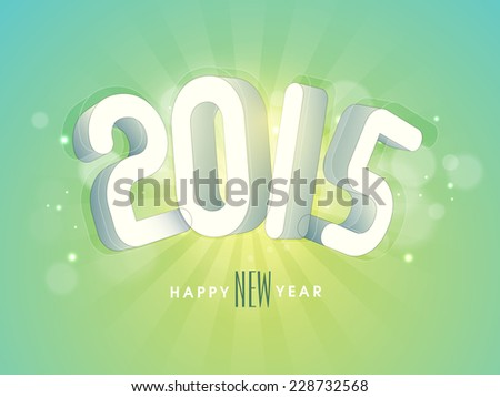 Happy New Year 2015 greeting card design with stylish text on shiny rays background.