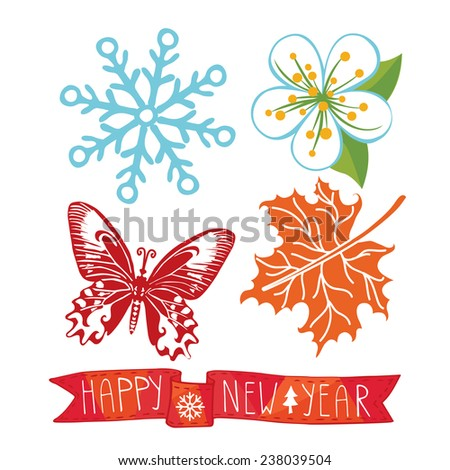 Happy New year greeting card,invitation,banner.Colored symbols,icons of new year. Snowflake,flower,butterfly,maple leaf on  white background.Ribbon happy new year.Vector. - stock vector
