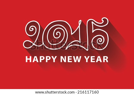 Happy New year greeting card,invitation,banner. Flat white Curly doodle letters 2015 and drop shadow on red background.Proverb Happy New year.The vector. - stock vector