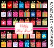 Happy New Year greeting card or background. Vector illustration - stock vector