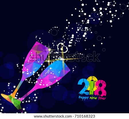 Happy new year 2018 greeting card stock vector royalty free happy new year 2018 greeting card or poster design with colorful triangle glass m4hsunfo