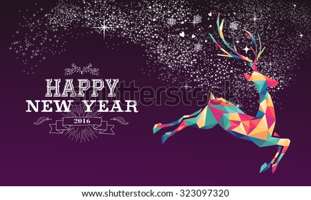 Happy new year 2016 greeting card or poster design with colorful triangle reindeer and vintage label illustration. EPS10 vector.