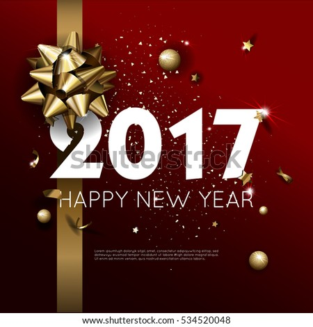 Happy New Year 2017 Greeting Card Stock Vector 533588155